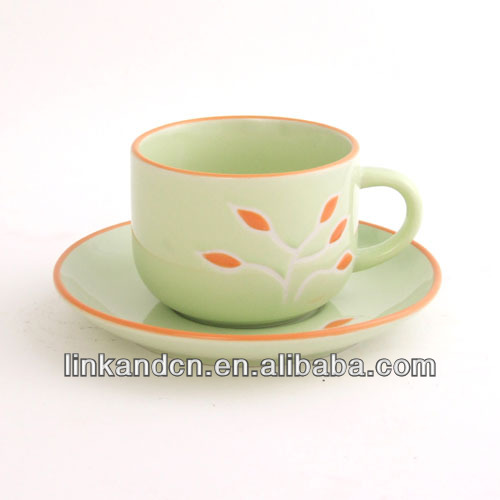 hot sale!!! orange color rim lovely ceramic with saucer