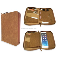 Retra Leather Zip-Close Portfolio Organiser Case for Tablet Mobile Phone Accessories Card etc