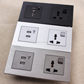 Brushed Aluminium Hotel USB Socket with special On and Off switch
