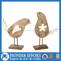 Wooden bird natural small wood decoration
