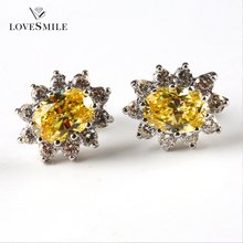 Wholesale good workmanship fashionable jewelry 925 silver set jacinth synthetic gemstones women earring