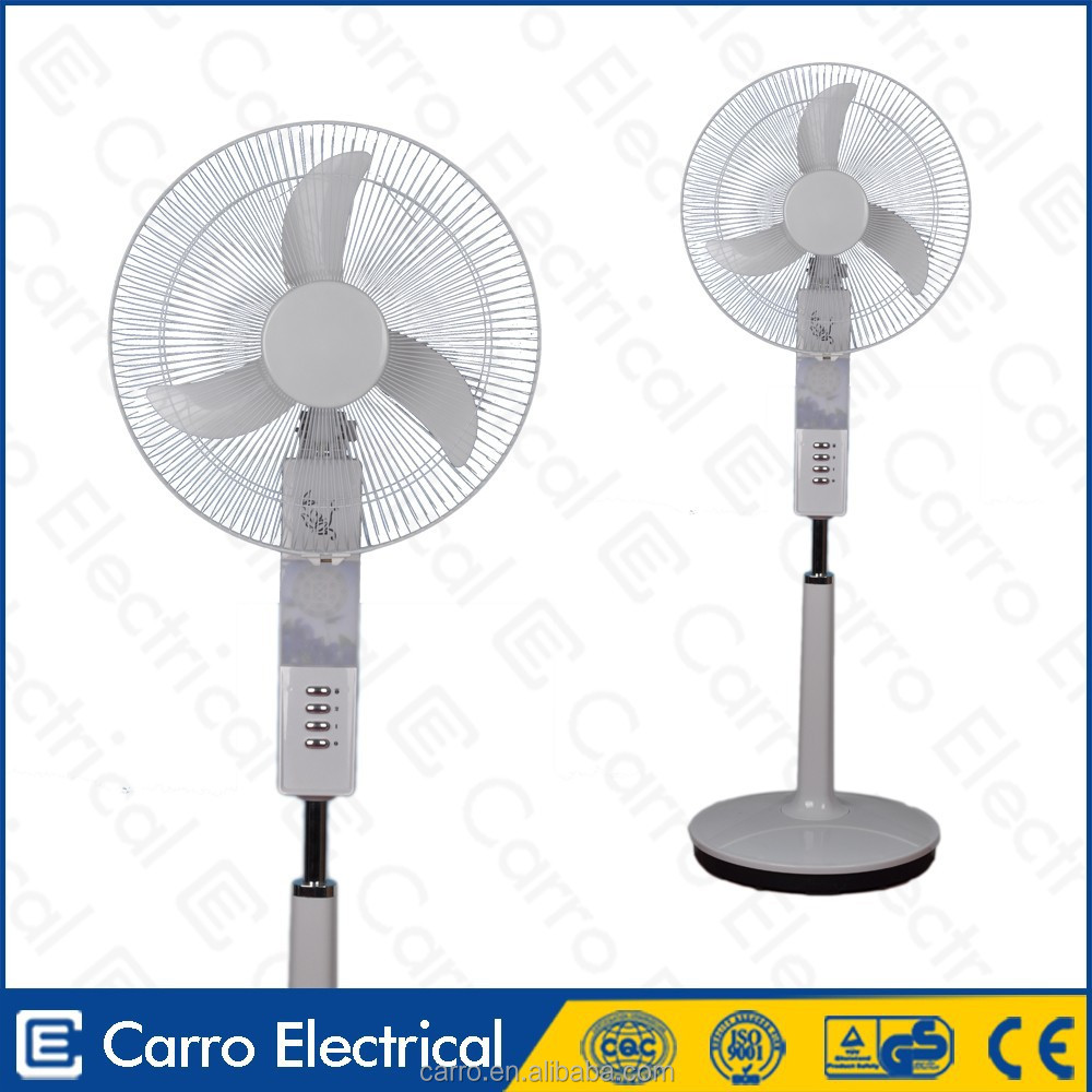 Foshan factory 16inch 12v electric dc solar rechargeable pedestal fan luminous pedestal fan