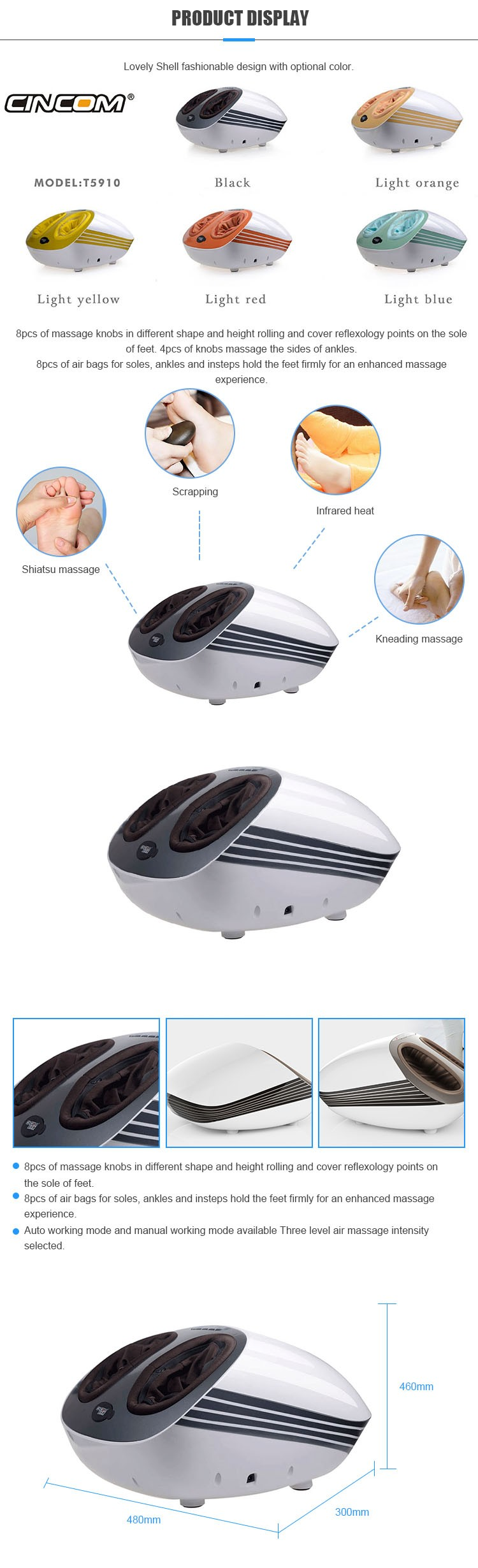 New Vibrating Foot Massage Health Care Machine Air Pressure Shiatsu Foot Massager