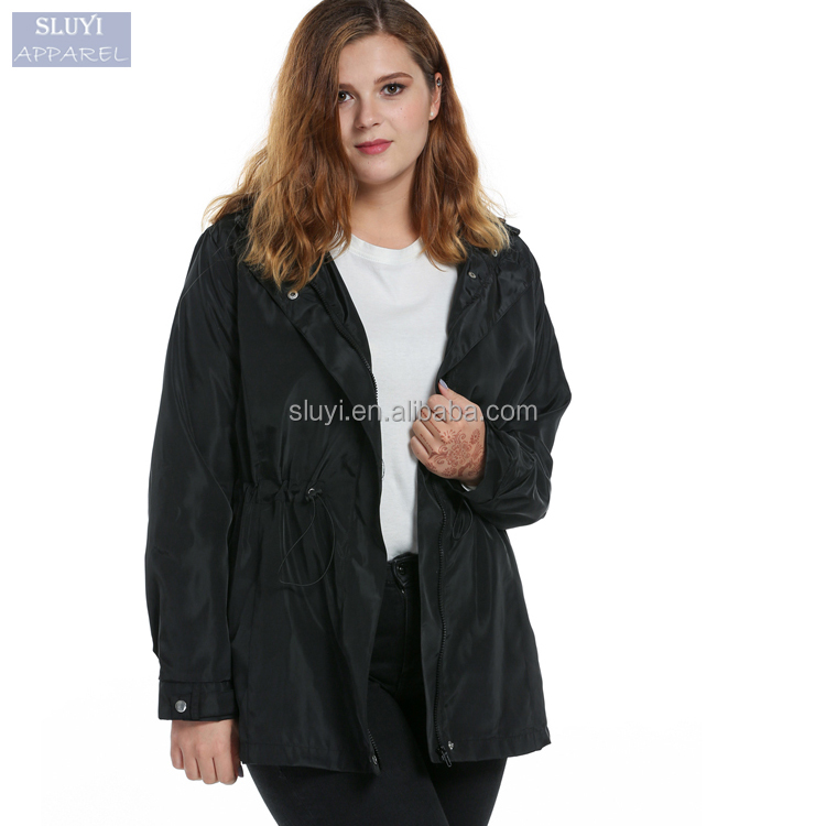 windbreaker jacket Women Casual Hooded Long Sleeve skiing jacket with elastic waist Solid Zip plus size coats and jackets woman