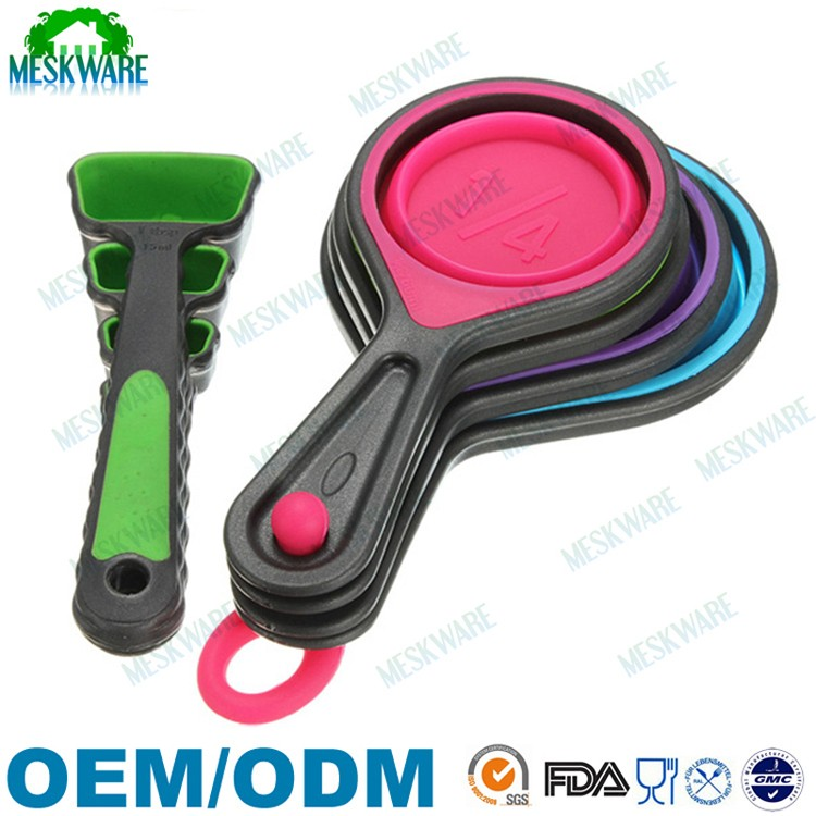 FDA approved BPA free non toxic 8pcs collapsible silicone measuring cups spoons for pet food, coffee