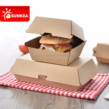 Creative custom made paper clamshell food packaging box for hamburger