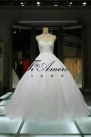 1A088 Tiamero Latest Design China Factory Made Beaded Ball Gown Wedding Dress