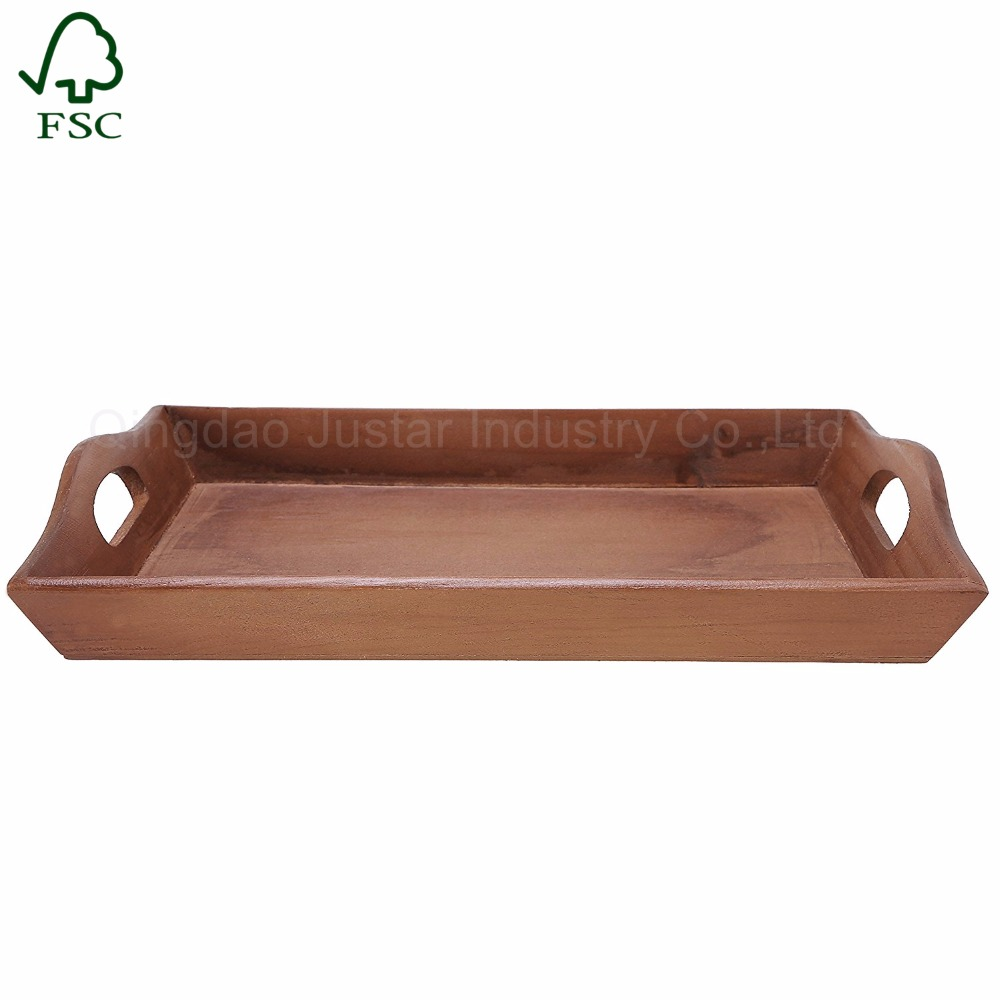 Large Plain Wood Serving Tray Wooden Breakfast Tea Serving Bed Tray With Handles