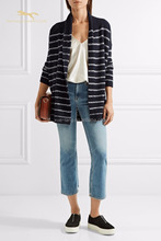 Winter stripe shawl lapel women cardigan sweater