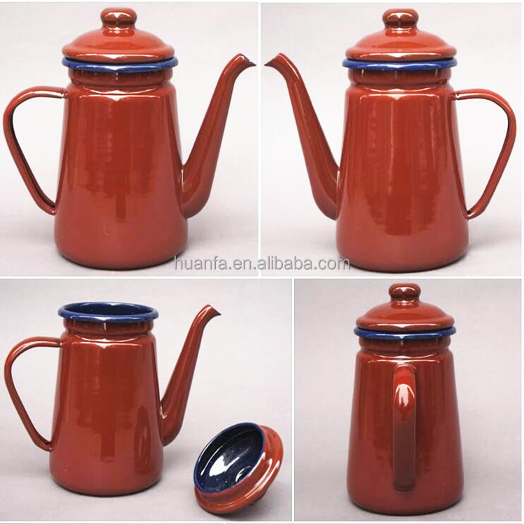 Wholesale Antique 1.1L Water Kettle Metal Enamel Cast Iron Teapot Enamel Coffee Kettle