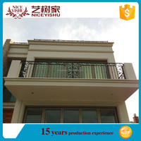 decorativie new 2016 security popular cheap wrought iron terrace railing designs /luxury ornamental aluminum balcony balustrade