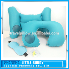 new design custom airplane folding soft neck support air self inflatable travel pillow