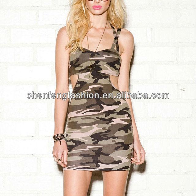 CHEFON Sexy women camouflage bodycon dress CF300