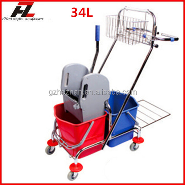 top quality 34L janitor cleaning cart with wringe / mop bucket trolley for hotels