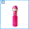 2016 Hot sale Borosilicate glass water bottle fruit infuser/Glass sports bottle with silicon sleeve