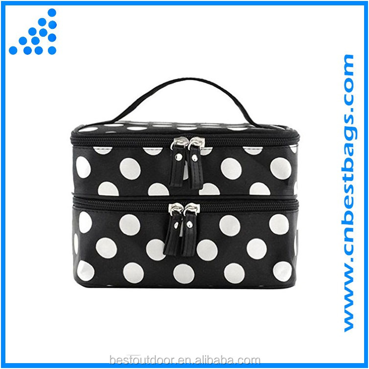 Cosmetic Bag Double Layer Dot Pattern Travel Toiletry Bag Organizer