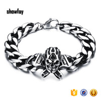 6801 Gothic Punk Small Skull Bracelet High Quality Stainless Steel Bracelet For Men