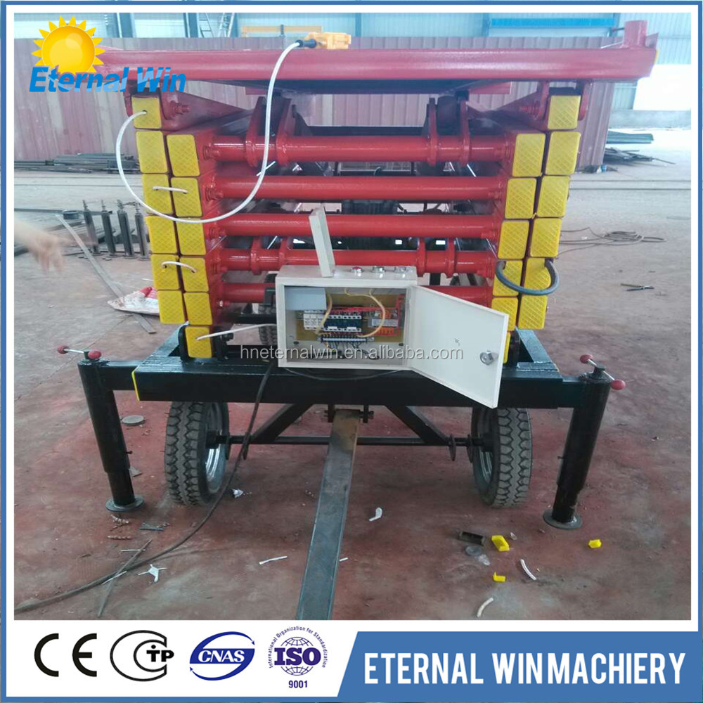Four wheels mini manual scissor lift platform with 2ton