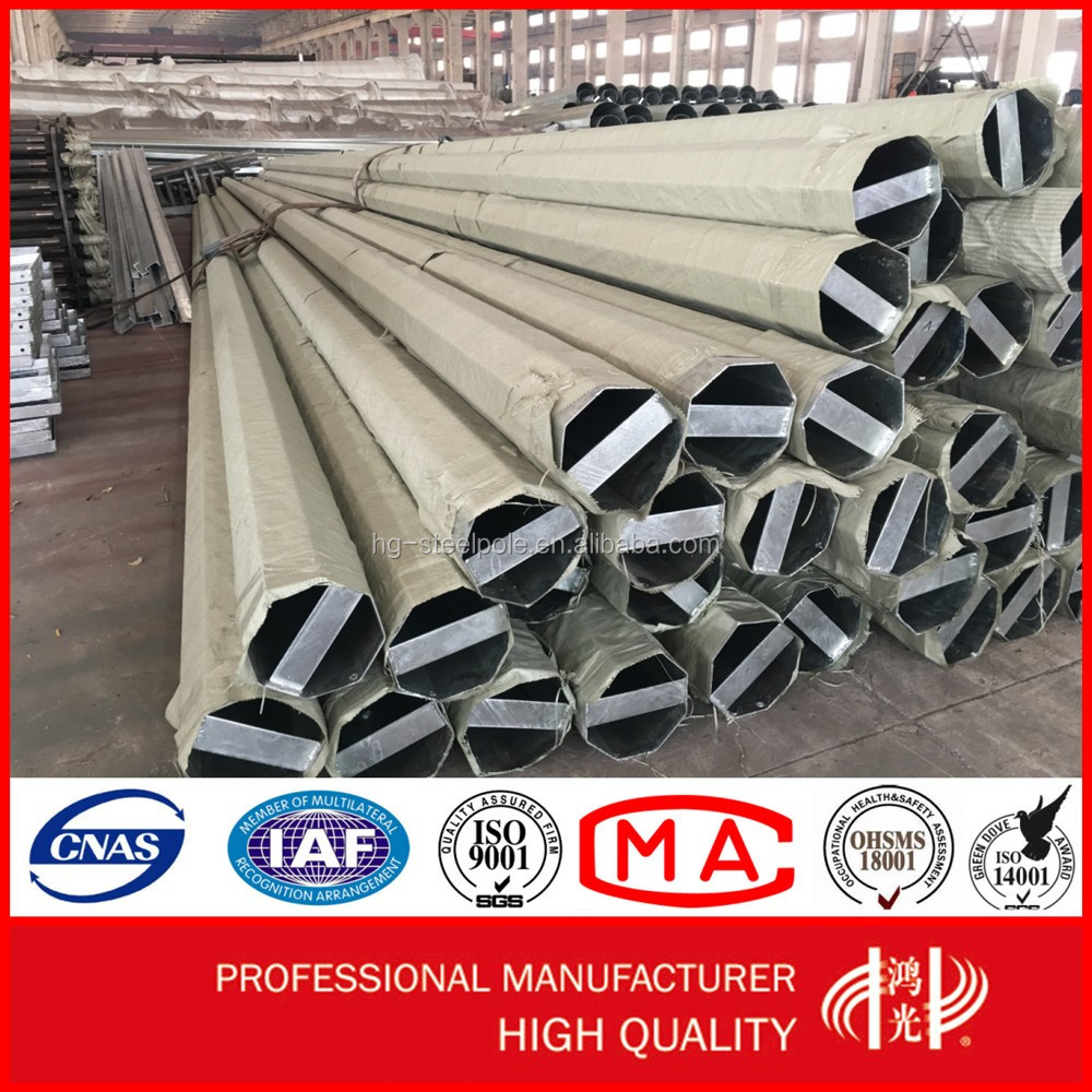 Galvanized Polygonal Electrical Steel Pole for Transmission Line with AAA Credit Rating Certificate
