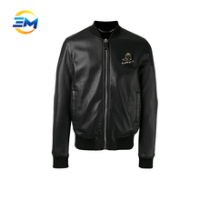 New fashion customized metal skull badge leather bomber jacket for men