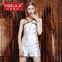 YIGELILA 5245 Sexy Mini White Embroidered Cross Sleeveless One Piece Spandex Jumpsuits For Women 2015