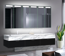 Lamxon largest LED lighted mirror cabinet with six mirrored door for large bathroom