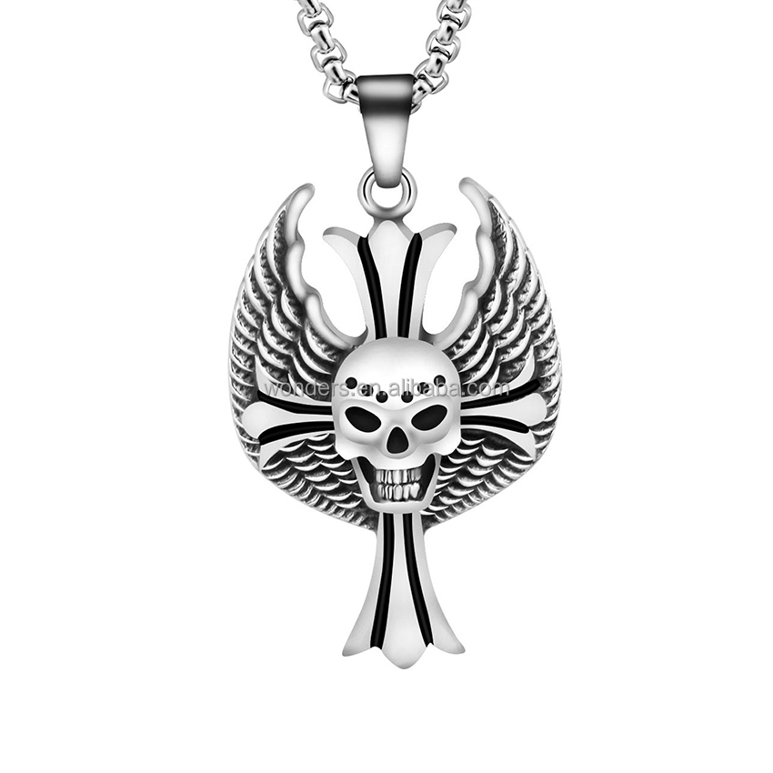 Death Skull Cross Wing Pendant Titanium Plated Men Necklace Jewelery 21.7Inch Stainless Steel Box Chain