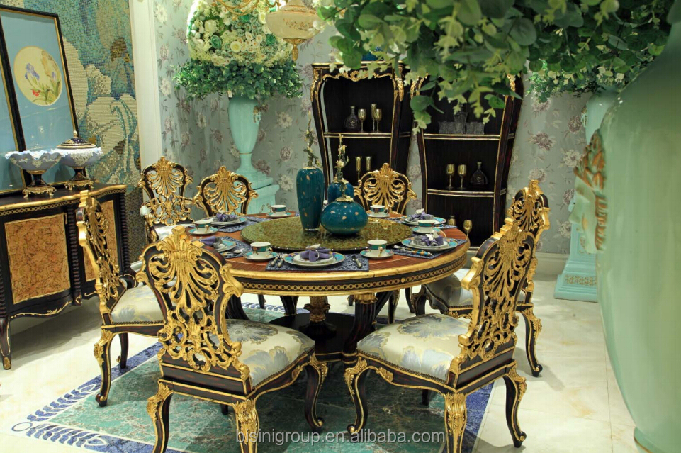 BISINI Royal Italian Black and Gold Dining Set, Luxury Handcarved Solid Wood Dining Furniture - BF07-30071DS