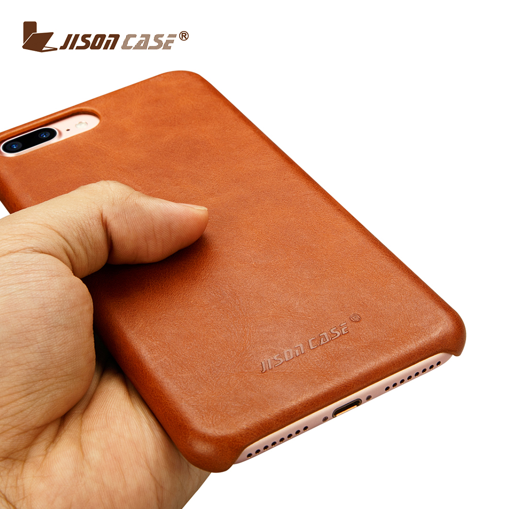 Jisoncase genuine leather back Cases For iPhone 7 plus luxury Color design mobile Phone Cover For iPhone 8 Plus