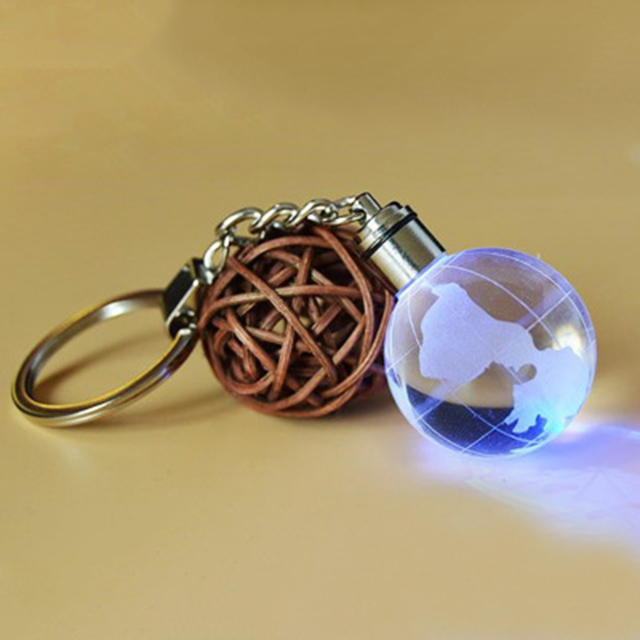 3d laser crystal ball keychain with led light for sports souvenir