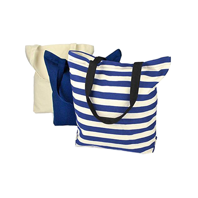 Promotional Eco friendly Cotton Canvas Cloth Personalized Fancy Reusable Shopping Bag Design With Natural Blue Stripe Set of 3