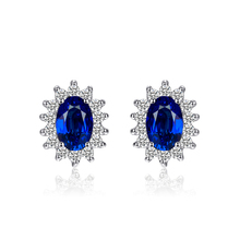JewelryPalace Top Sale 925 Sterling Silver Blue Sapphire Stud Earrings