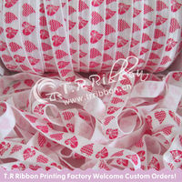 heart printed elastic printed ribbon for Valentine`s day