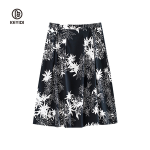 KEYIDI Spring summer A line skirt floral printed women midi length skirt