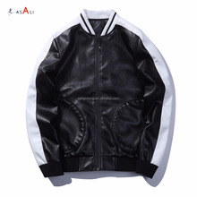 Baseball uniform style PU leather bomber jacket man cheap wholesale in stock