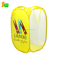 Foldable Pop Up Mesh Washing Laundry Basket Bag Bin Hamper Toy Tidy Storage heavy duty laundry bag