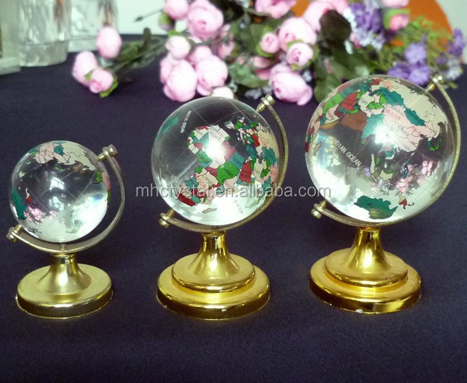 Brass Stand Crystal Rotating Earth & Oceans Paper Weight Globe MH-Q0114