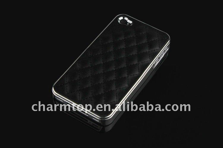 For iPhone 4S Deluxe Leather Chrome Phone Case