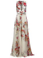 MIKA60168 2016 Women sexy print flared gown evening dress