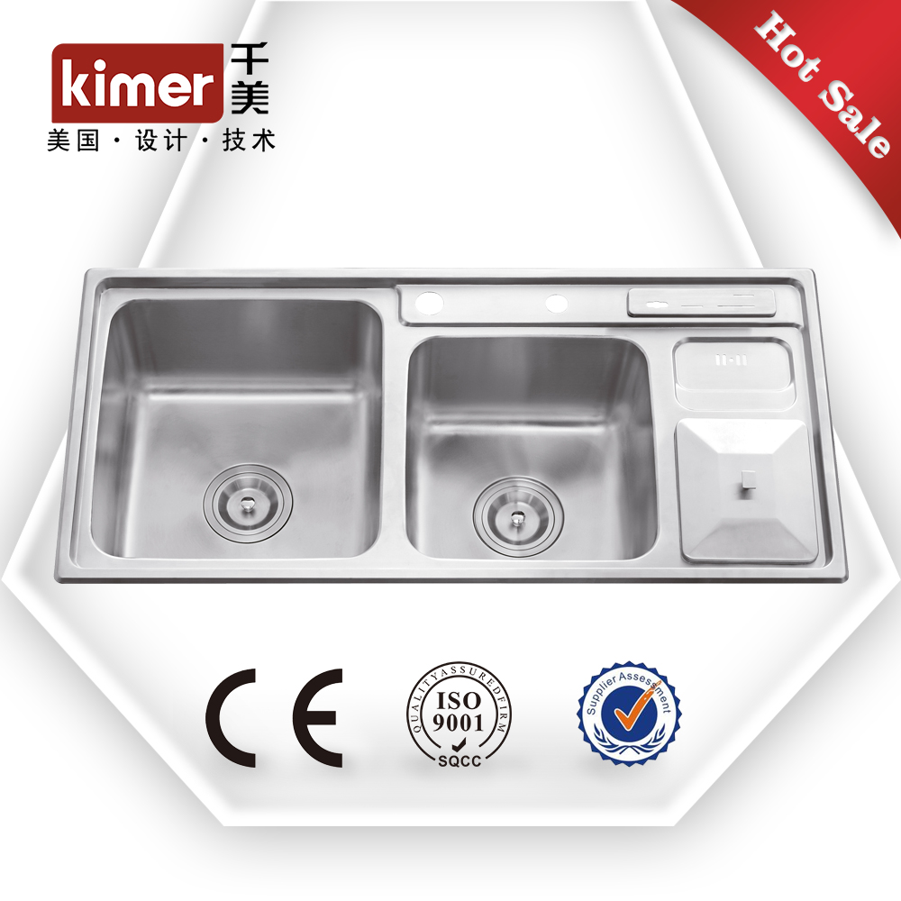 multifuntional double bowl knife rest trashbin stainless steel double bowl round kitchen sink lab sink steel sink