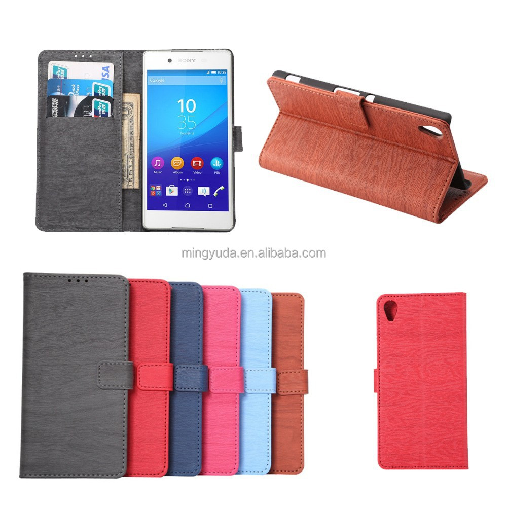 Wooden Texture Card Slot Flip Stand PC+PU Leather Case for Sony Xperia Z4