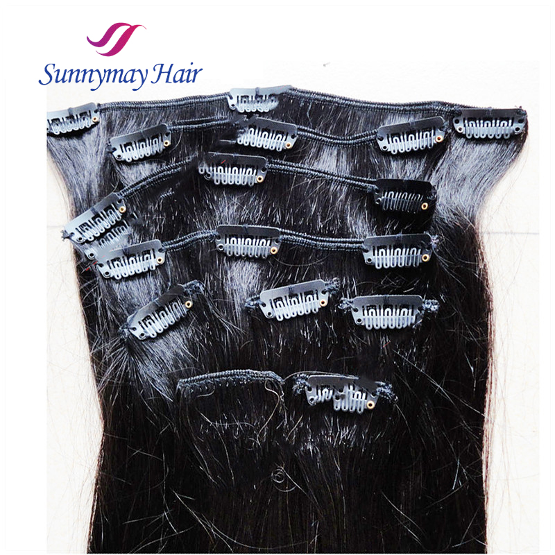 8A+ Clips In Hair Extensions Malaysian Virgin Human Hair Clips In Weft Natural Black Straight 8 Pcs Clips In Hair Extensions