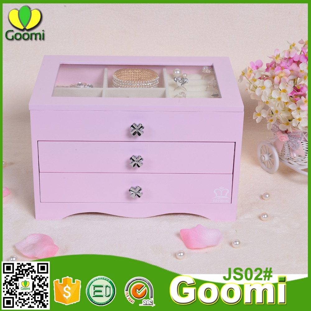 Goomi Storage Box For Jewellery JS02# E0 E1 MDF Wooden vintage jewelry box beautiful deaign with drawer