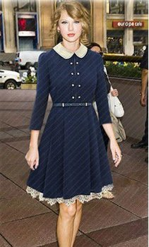 Office lady dress long dress coat in blue with lovely collar and hook flower hemline