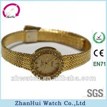 2013 Metal strap fashion lady alloy watches gold bracelet table