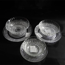 diamond glass plate bowls set glass dish glass soup bowl