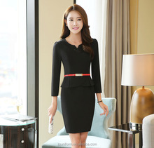Black and orange colour nice design half sleeve lady office slim fit formal buisness dress in China wholesale