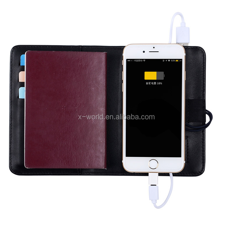OEM Business style PU leather passport case, Handhold Card slot Passport Holder Case With Power bank Charger for mobile phones