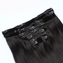 Wholesale 7pcs Straight Natural Color Brazilian Human Hair Clip In Full Head Hair Extension For Black Women