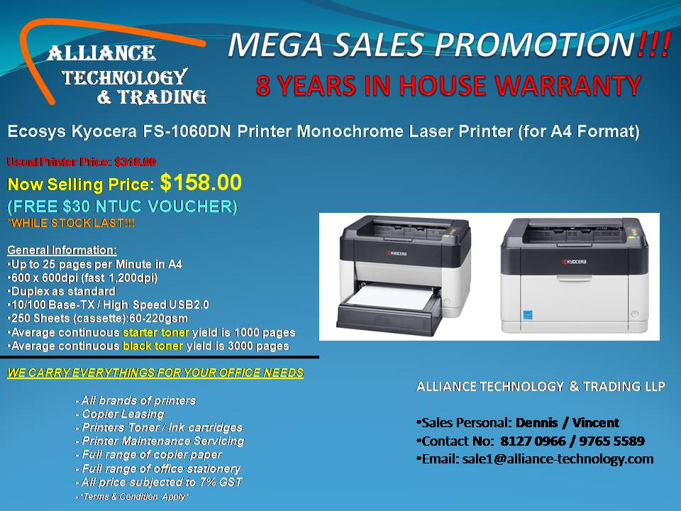 MEGA SALES PROMOTION!!! PRINTER ONLY AT $158.00